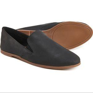 Lucky brand leather black slip on flats NWOT 7
